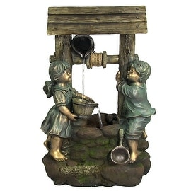 Children at the Well Outdoor Water Fountain with LED Light by Sunnydaze Decor, 3