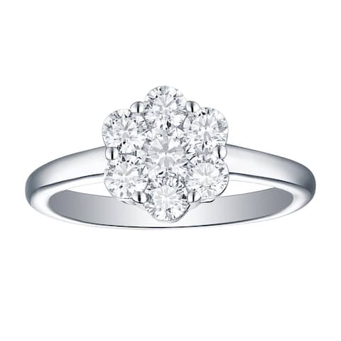 Lab Grown Diamond Cluster Engagement Ring, 1 Ctw 14K Solid Gold by Smiling Rocks