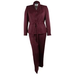 Le Suit Women's Venetian Canal Belted Pant Suit - 6P
