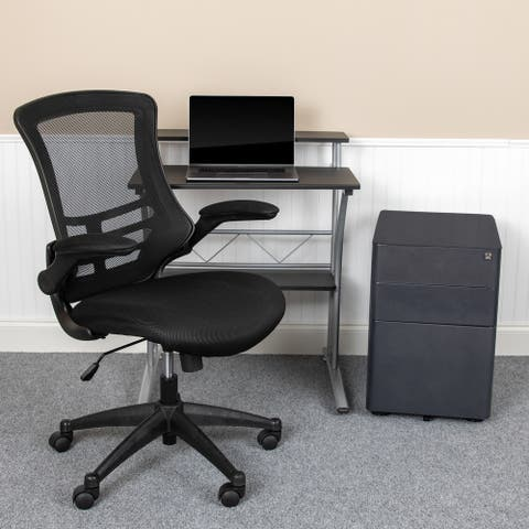 3PC Office Set-Computer Desk, Ergonomic Mesh Office Chair, Mobile Filing Cabinet