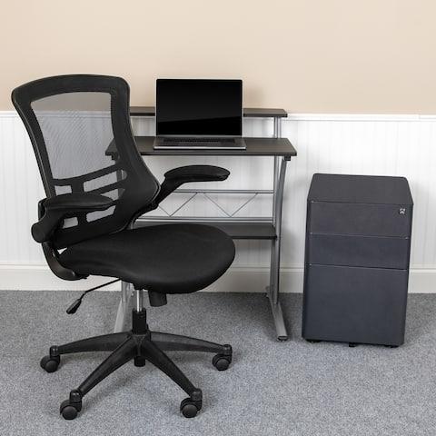3PC Office Set-Computer Desk, Ergonomic Mesh Office Chair, Mobile Filing Cabinet