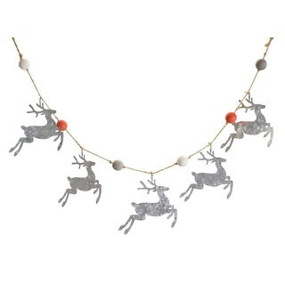 Pack of 4 Silver Distressed Finish Galvanized Decorative Deer Garland Home Decor 4""