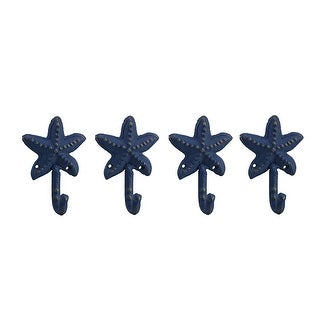 Set of 4 Distressed Blue Finish Cast Iron Starfish Wall Hooks - 4.5 X 3.25 X 1.75 inches