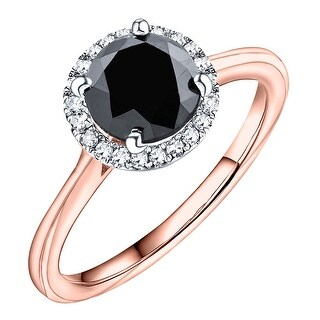 Prism Jewel 2.10 TCW Black Color Diamond with Natural Diamond Halo Engagement Ring - White G-H (More options available)