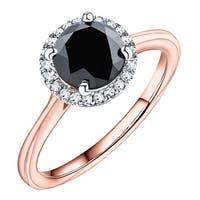 Prism Jewel 2.10 TCW Black Diamond with Natural Diamond Engagement Halo Ring