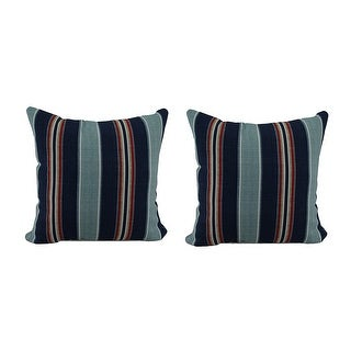 Set of 2 Blue & Red Striped Indoor/Outdoor Throw Pillows 16 in.