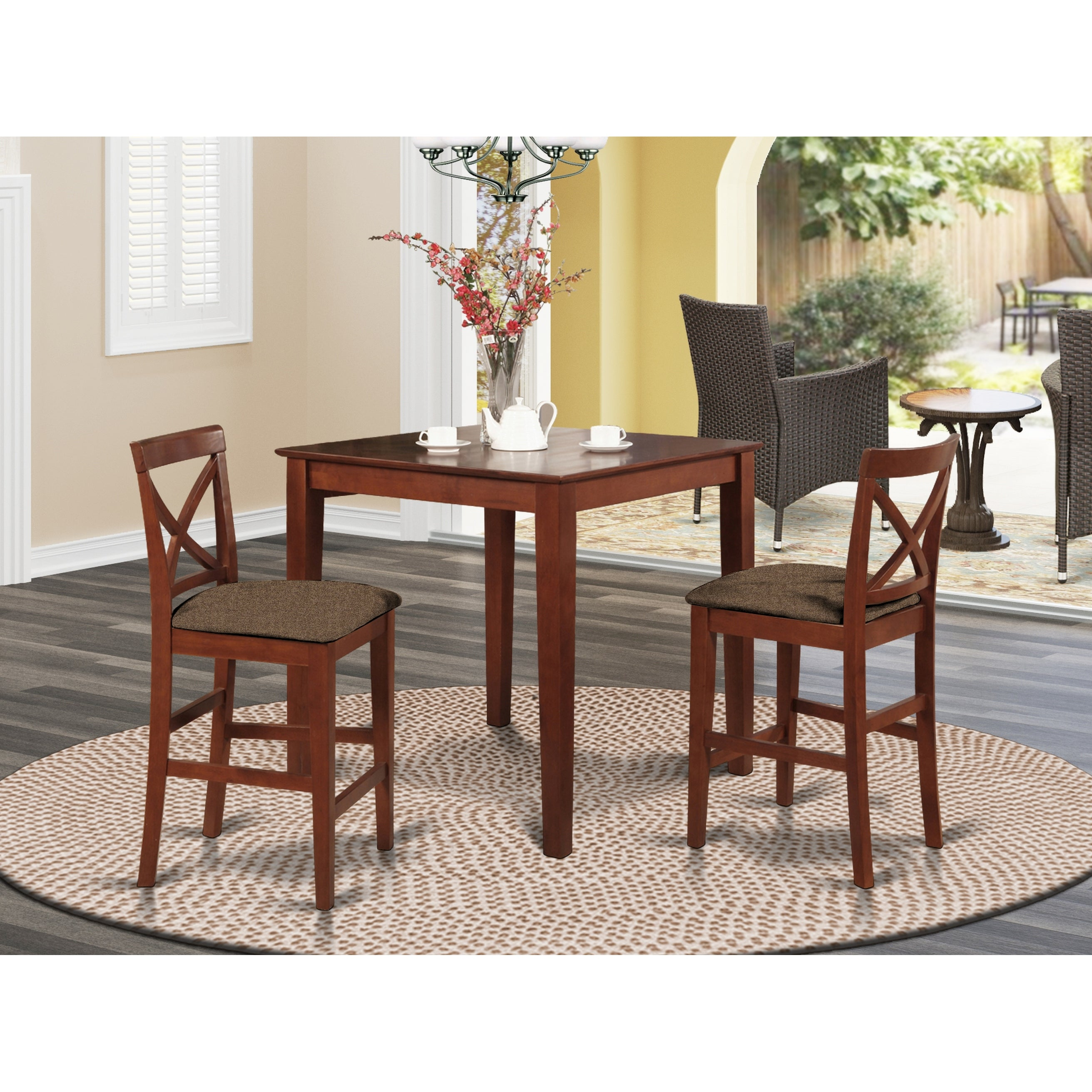 Picture of: Shop Black Friday Deals On Dark Brown Pub Table And 2 Stools 3 Piece Dining Set Overstock 10201091 Microfiber