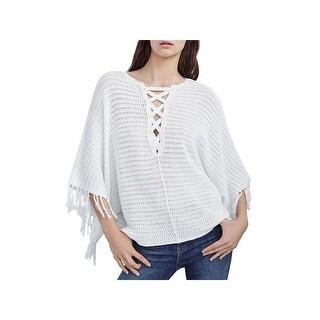 Velvet Womens Poncho Sweater Crochet Lace Up