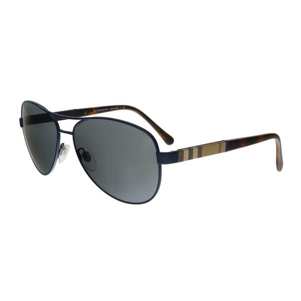 ed902fa35bcfc Shop Burberry BE3080 12346G Matte Blue Aviator Sunglasses - 59-14 ...