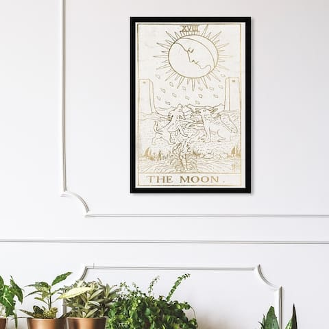 Oliver Gal 'The Moon Tarot Luxe' Spiritual and Religious Framed Wall Art Prints Astrology - White, Gold