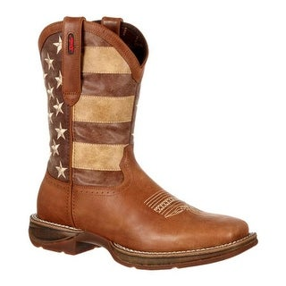 """Durango Boot Men's DDB0078 12"""" Rebel Faded Glory Flag Boot Tan/Brown Distressed Flag Leather"""