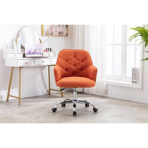 Linen Swivel Home Upholstered Adjustable Height Office Chair