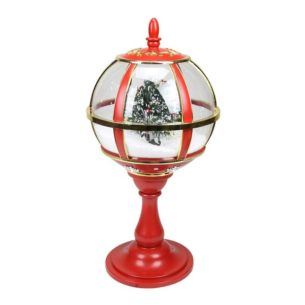 """23.5"""" Lighted Red and Gold Musical Snowing Christmas Tree Holiday Table Top Street Lamp"""