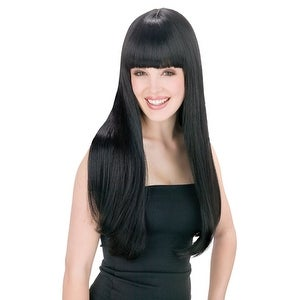 Cher Womens Pop Star Long Straight Black Wig - standard - one size