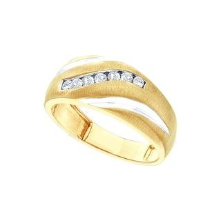 14k Yellow Gold Mens Masculine Channel-set Round Diamond Brushed-satin 2-tone Wedding Band 1/4 Cttw - White