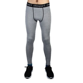 Men Sports Compression Base Layer Tights Running Long Pants Gray W36