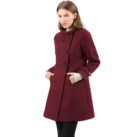 Women's Stand Collar Double Breasted Winter Outwear A-Line Coat - Burgundy