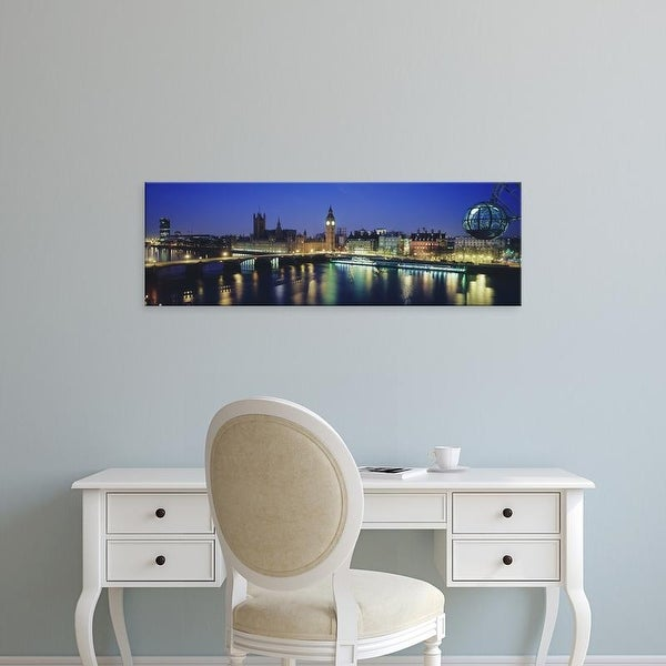 Easy Art Prints Panoramic Image 'Big Ben, Houses Of Parliament, Thames River, London, England' Canvas Art