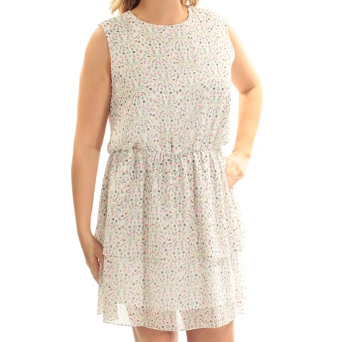 CYNTHIA ROWLEY Womens Ivory Floral Sleeveless Jewel Neck Mini Fit + Flare Dress Size: L