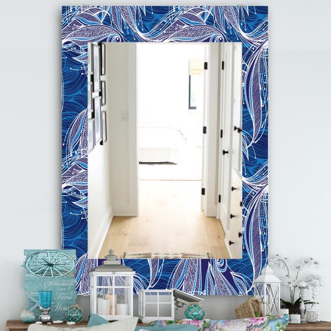 Designart 'Blue Pattern With Fantastic Fishes' Traditional Mirror - Wall Mirror
