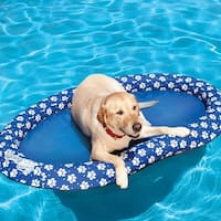"62"" Blue and White Paw Print Paddle Paws Heavy Duty Spring Float - Large"
