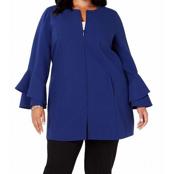 Alfani Womens Jacket Blue Size 2X Plus Ruffle Collarless Full-Zip. Opens flyout.