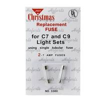 Pack of 2 Replacement Fuses For C7 or C9 Christmas Lights - 7 Amps - CLEAR
