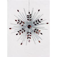 7 in. Silver Glittered Snowflake Christmas Tree Ornament with Red