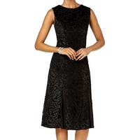 R&M Richards Black Womens Size 14 Flocked Velvet A-Line Dress