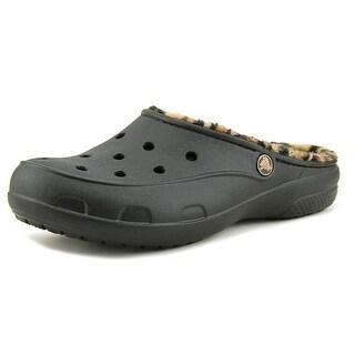 Crocs FreeSail Leopard Lined  Women  Round Toe Faux Fur Black Clogs