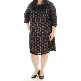 JESSICA HOWARD $99 Womens New 1471 Black Lace 3/4 Sleeve Dress 22W Plus B+B