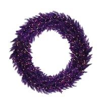 "48"" Pre-Lit Purple Ashley Spruce Christmas Wreath - Clear and Purple Lights"