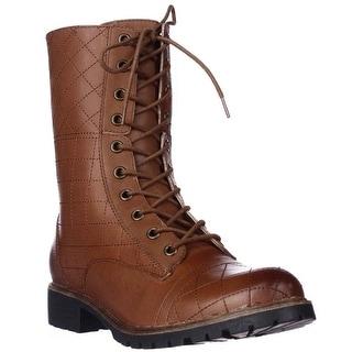 Kensie Steva Lace-Up Combat Boots - Cognac