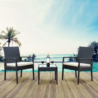 Costway 3 PS Outdoor Rattan Patio Furniture Set Backyard Garden Furniture Seat Cushioned - Black
