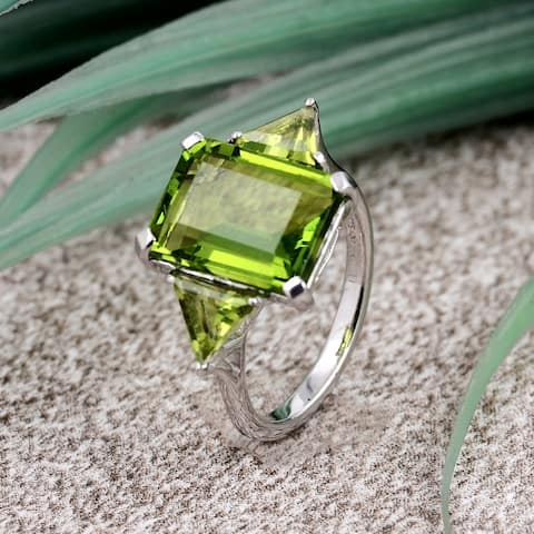 Sterling Silver Statement Promise Multi Color Gemstone 3 Stone Ring by Orchid Jewelry