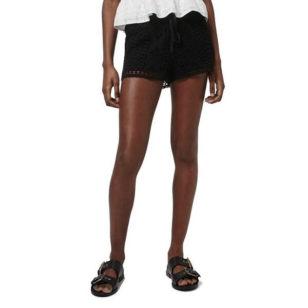 Shop Topshop Black Womens Size 8 Drawstring Floral Crochet Shorts