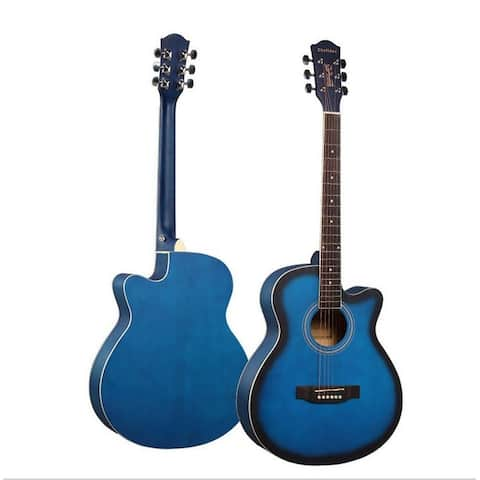 New Professional Acoustic Callaway Folk 40 inch Guitar STAGEESSENTIALS - Blue