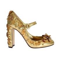 Dolce & Gabbana Gold Leather Floral Studded Pumps - 39