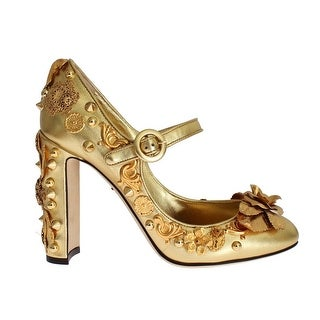 Dolce & Gabbana Gold Leather Floral Studded Pumps - 39