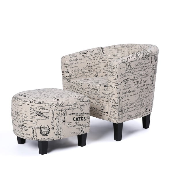 Belleze Accent Tub Chair Curved Back French Print Script Linen ...