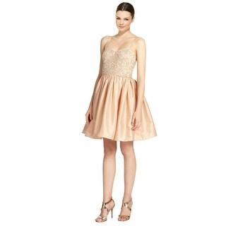 Aidan Mattox Charming Pink Beaded Top Voluminous Skirt Party Dress - 6