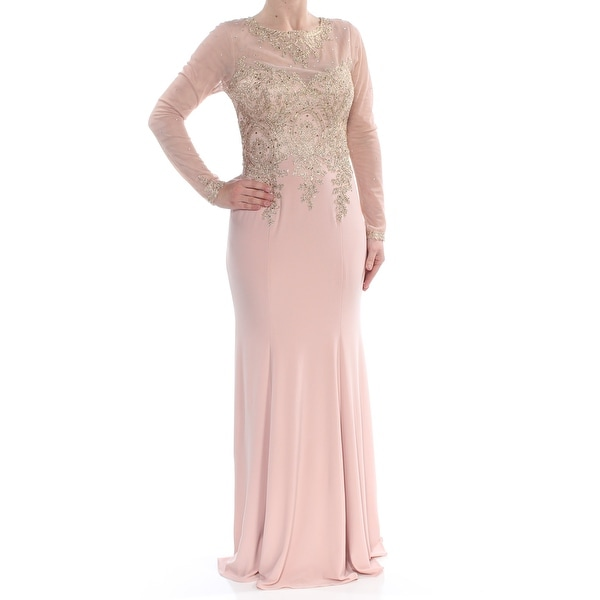 0508d03345fef XSCAPE Womens Pink Embroidered Mesh Long Sleeve Jewel Neck Full-Length  Mermaid Formal Dress Size: 6