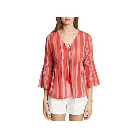 Sanctuary Womens Sedona Peasant Top Striped Bell Sleeves
