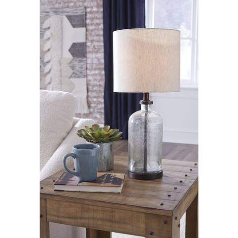 """Bandile Modern Farmhouse Glass Table Lamp - 10""""W x 10""""D x 22""""H"""