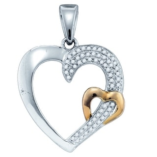 Twin Heart Pendant Two Tone 10K Yellow-gold With Diamonds 0.16 Ctw By MidwestJewellery - White