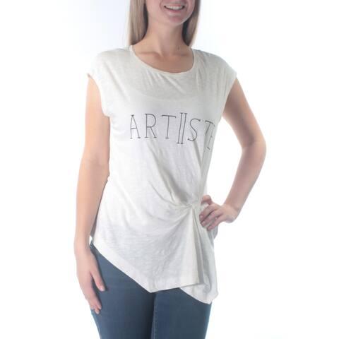 KIIND OF Womens White Artiiste Cap Sleeve Jewel Neck Top Size: S