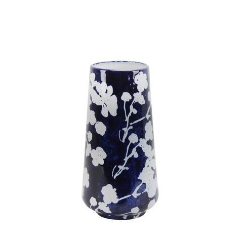"Ceramic 12.5"" Floral Vase, Blue/White"