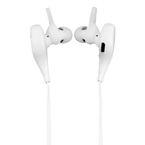 Hands-free Calling Noise Cancelling Earbuds bluetooth Headset White w USB Cable