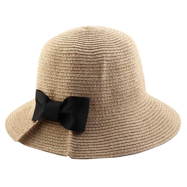 Women Straw Bowknot Shape Brimmed Beach Hat Topee Floppy Sun Protector Cap  Khaki e9e9ad68d42