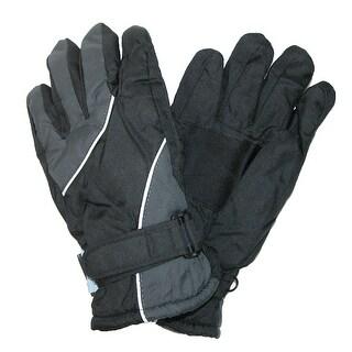 CTM® Kids' 8 - 18 Two Tone Waterproof Winter Gloves - red / grey - 10 - 12